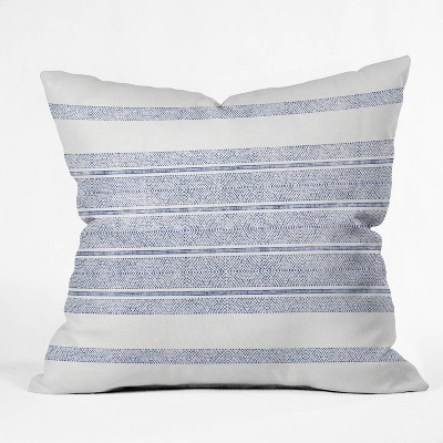 "16""x16"" Holli Zollinger Capri Stripes Square Throw Pillow Blue - Deny Designs"