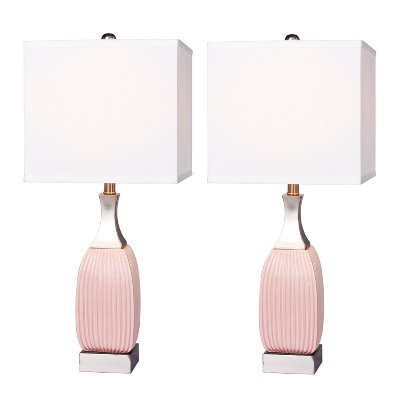 Vertically Ribbed Ceramic And Nickel Metal Table Lamp Pink  - Fangio Lighting
