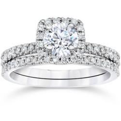 Pompeii3 5/8 Carat Cushion Halo Diamond Engagement Wedding Ring Set White Gold