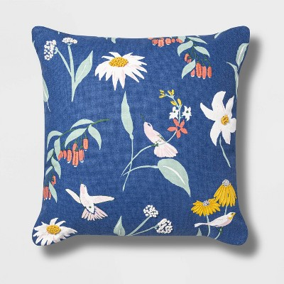 Hummingbird Embroidered Floral Square Pillow - Opalhouse™
