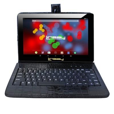 "LINSAY 10.1"" 1280x800 IPS Tablet Bundle with Crododile Black Keyboard Case 32GB"