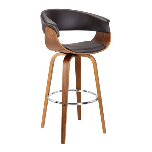 Prime 26 Julyssa Mid Century Swivel Counter Height Barstool In Brown Faux Leather With Walnut Wood Armen Living Squirreltailoven Fun Painted Chair Ideas Images Squirreltailovenorg