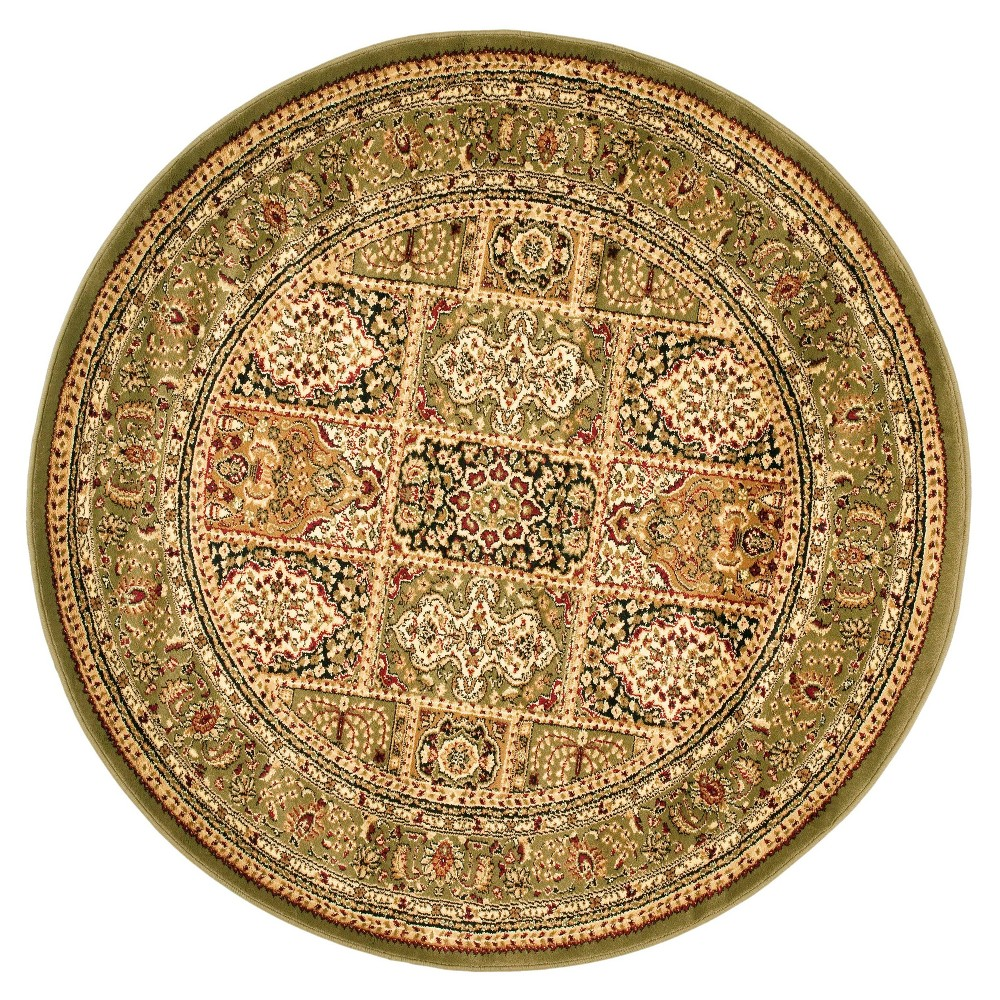 Gray/Ivory Floral Loomed Round Area Rug 5'3 - Safavieh, Green