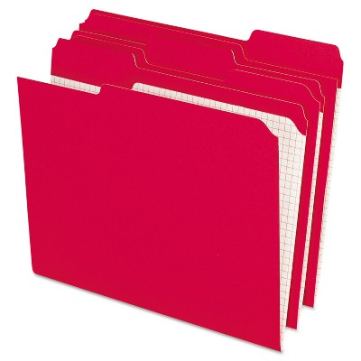 Pendaflex Reinforced Top Tab File Folders 1/3 Cut Letter Red 100/Box R15213RED