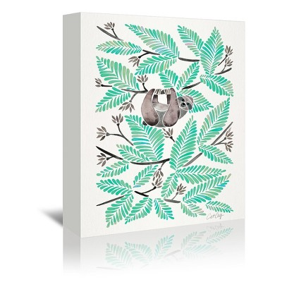 Americanflat Happy Sloth Mint by Cat Coquillette Wrapped Canvas