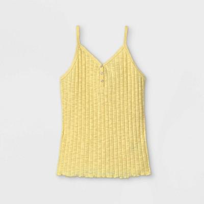 Girls' Rib-Knit Button-Front Henley Cami Tank Top - art class™