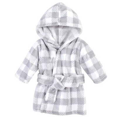 Hudson Baby Infant Plush Animal Face Bathrobe, Gray Plaid, 0-9 Months