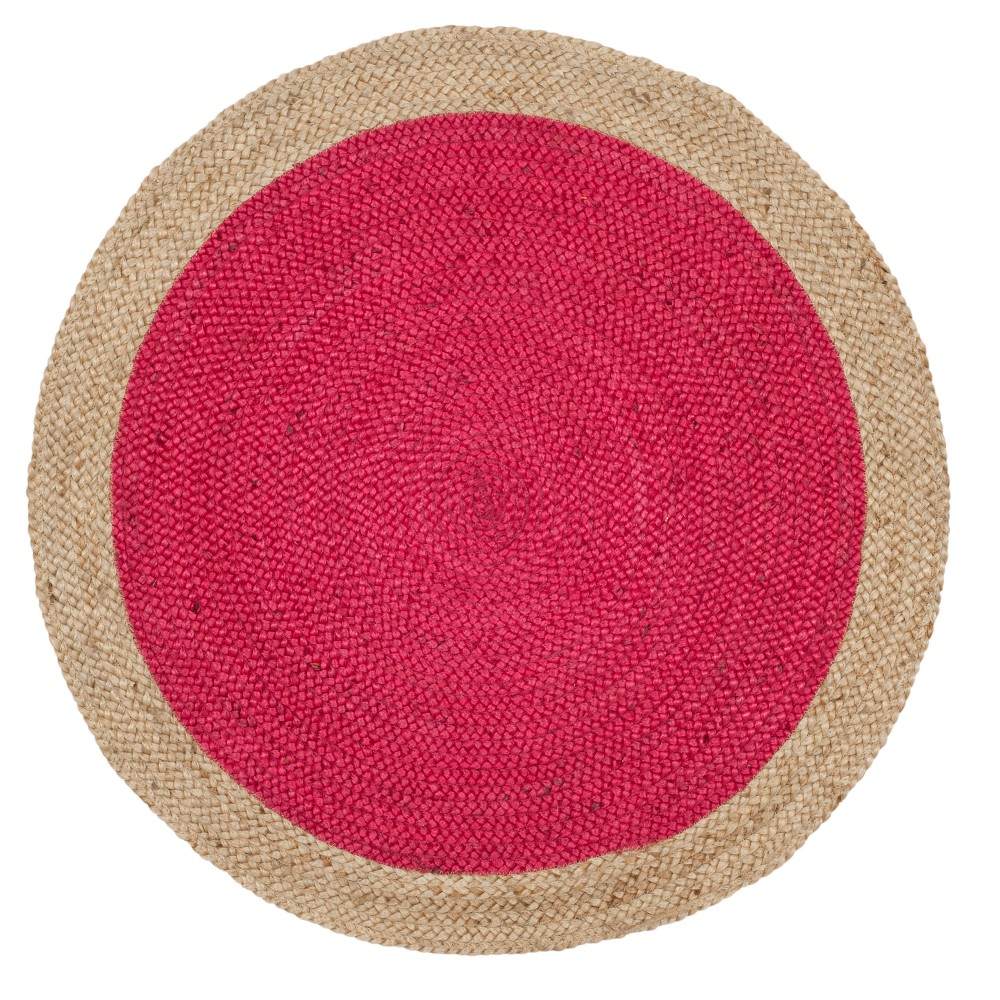 Fuchsia/Natural (Pink/Natural) Solid Woven Round Accent Rug 3' - Safavieh