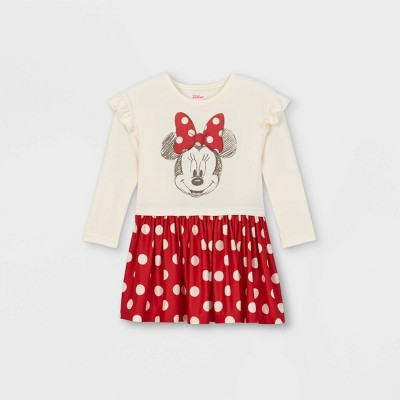 Toddler Girls' Minnie Mouse Knit Long Sleeve Dress - Red
