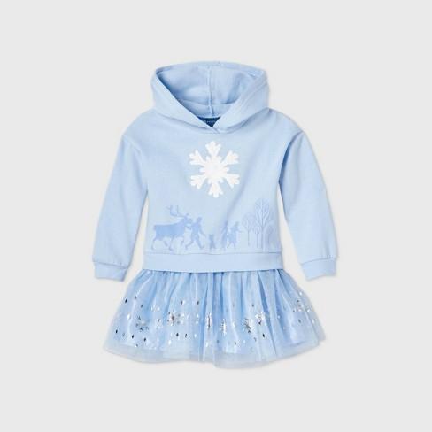 Toddler Girls' Disney Frozen Hooded Fleece Long Sleeve Tutu Dress - Light Blue - image 1 of 2