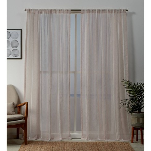 Santos Rod Pocket Sheer Window Curtain Panels - Exclusive Home - image 1 of 4