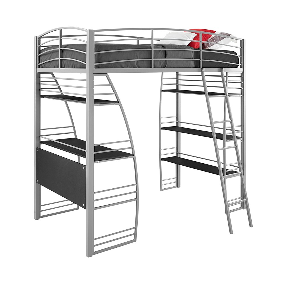 Sandy Loft Bed With Integrated Desk And Shelves Twin Silver - Room & Joy