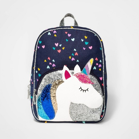 Girls' Unicorn Pocket Printed Dome Backpack - Cat & Jack™ Blue - image 1 of 3
