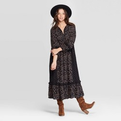 Women's Floral Print Long Sleeve V-Neck Dark Grounded Maxi Dress - Universal Thread™ Black