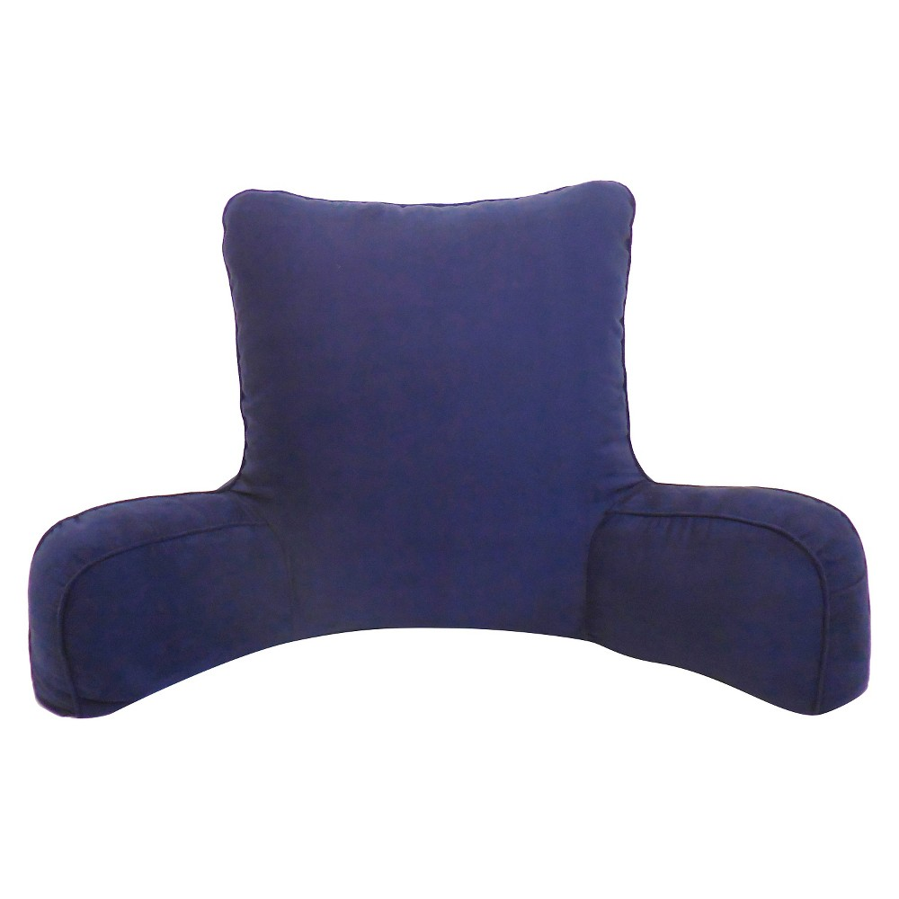 Image of Dark Night Blue Suede Solid Color Oversized Bed Rest Lounger Support Pillow - Elements By Arlee