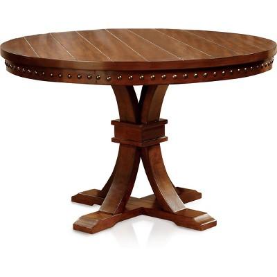 CraytonNailhead Trimmed Pedestal Round Dining Table Dark Oak - HOMES: Inside + Out