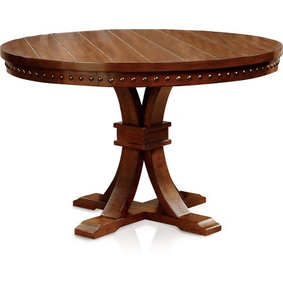 Sun U0026 Pine Nail Head Trimmed Pedestal Round Dining Table Wood/Dark Oak