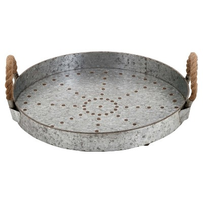 "Farmhouse Rustic Galvanized Iron Serving Tray (16"") - Olivia & May"