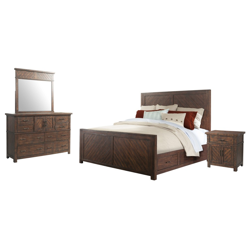 Image of 4pc Dex King Platform Storage Bedroom Set Walnut Brown - Picket House Furnishings