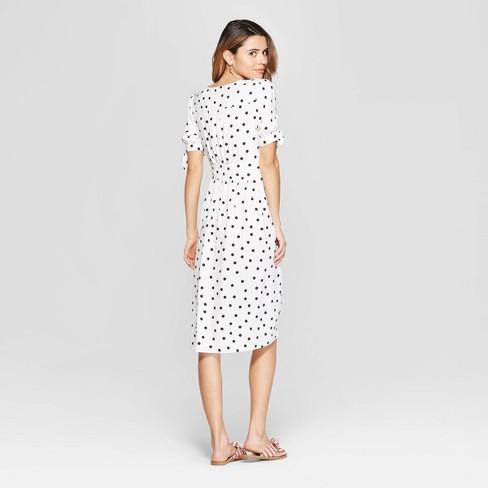 Women s Polka Dot Short Sleeve V-Neck Crepe Dress - A New Day™ Cream Black    Target aaf68806a