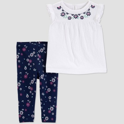 Baby Girls' 2pc Floral Top And Bottom Set - Just One You® made by carter's White/Navy 18M