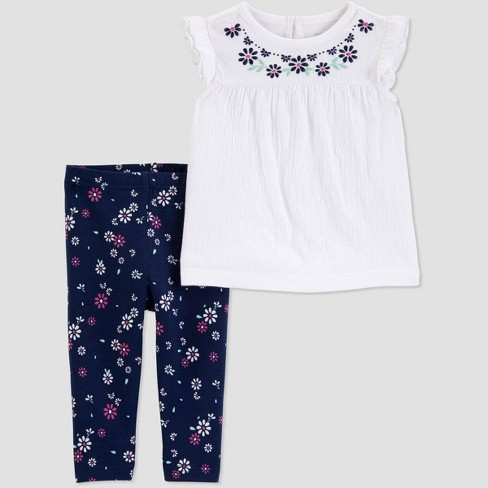 ebc2bfdb Toddler Girls' 2pc Floral Top And Bottom Set - Just One You® made by  carter's White/Navy