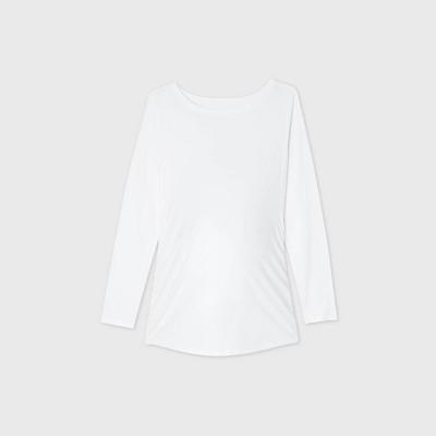 Long Sleeve Boat Neck Side Shirred Maternity T-Shirt - Isabel Maternity by Ingrid & Isabel™