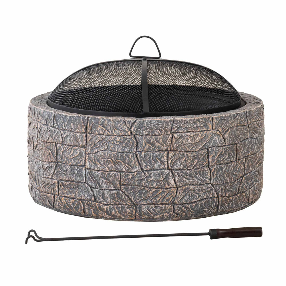Image of Melrose Outdoor Deep Steel Bowl Round Fire Pit Gray - Sunjoy