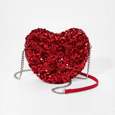 Girls' Heart Shape Sequin Crossbody Bag - Cat & Jack™ Red