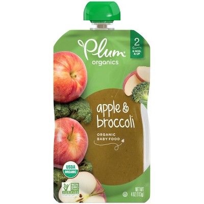 Plum Organics Stage 2 Apple & Broccoli Baby Food (Select Count)
