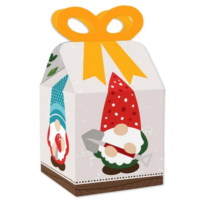 Big Dot of Happiness Garden Gnomes - Square Favor Gift Boxes - Forest Gnome Party Bow Boxes - Set of 12