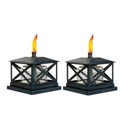 5.5  Petite Lantern Metal Table Torch Black - TIKI