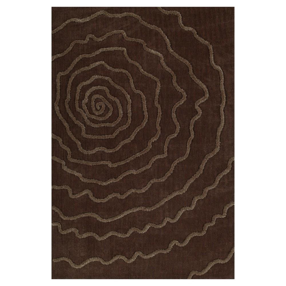 Chocolate (Brown) Swirl Tufted Area Rug 5'X7'6