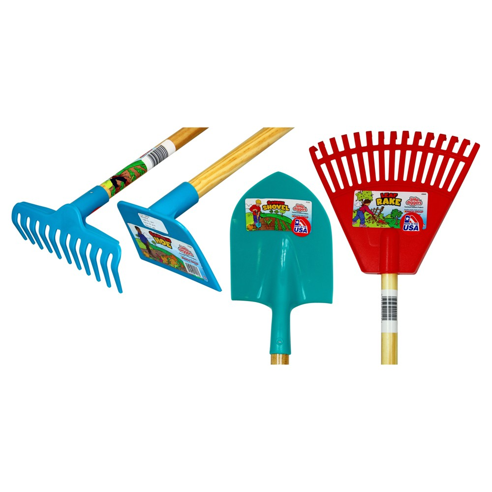Image of 4pk Children's Plastic Garden Tools - Blue/Green/Red - Little Diggers