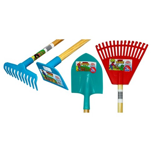 4pk Children's Plastic Garden Tools - Blue/Green/Red - Little Diggers - image 1 of 2