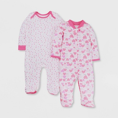 Lamaze Baby Girls' 2pk Dots and Hearts Print Sleep N' Play - Pink/White Newborn