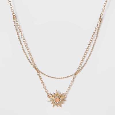 SUGARFIX by BaubleBar Celestial Pendant Necklace - Blush Pink/Gold