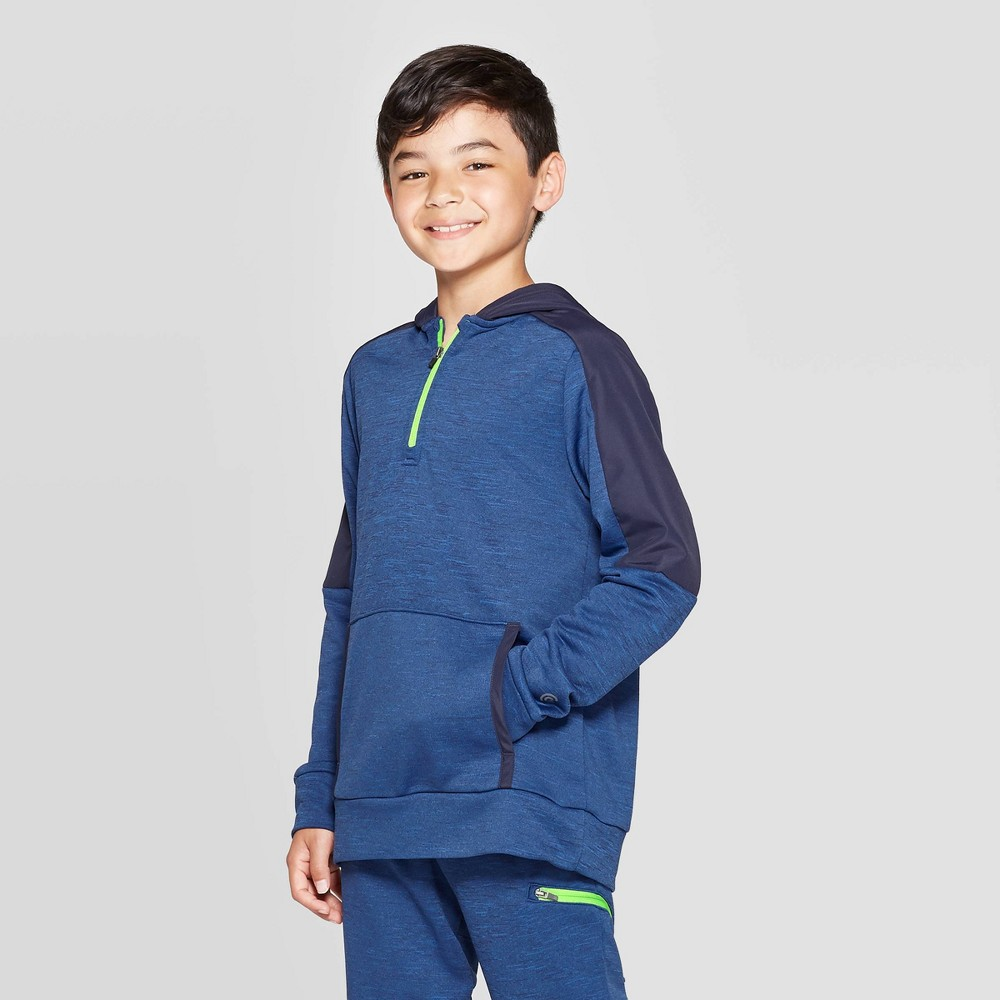 Image of Boys' Fleece 1/4 Zip Hoodie - C9 Champion Navy Blue Heather L, Boy's, Size: Large, Blue Blue Grey