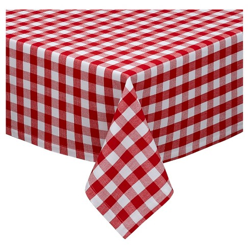 "84""x60"" Checkers Tablecloth Red - Design Imports - image 1 of 1"