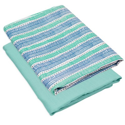 Honest Baby Organic Cotton Swaddle Blanket - Teal Geometric 2pk