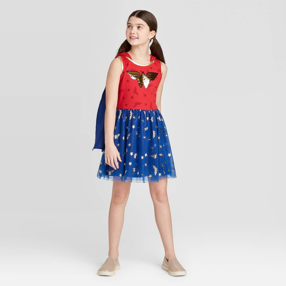 Image of Girls' Wonder Woman Flip Sequin Dress - Blue L, Girl's, Size: Large