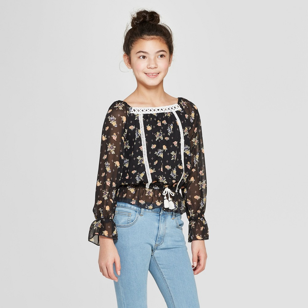 Girls' Floral Long Sleeve Square Neck Woven Top - art class Black S