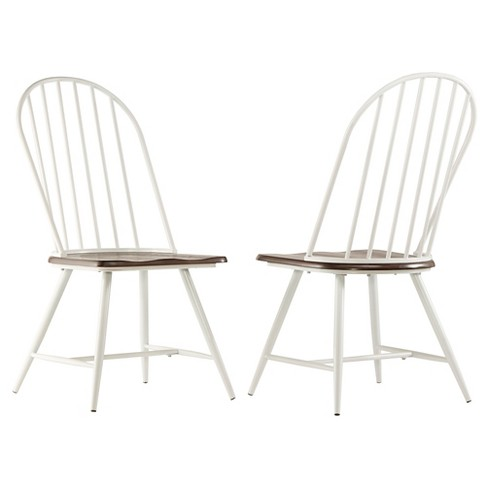 Juniper Lane Mixed Media Windsor Dining Chair Metal/White/Dark Oak (Set of 4) - Inspire Q - image 1 of 3