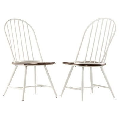 Juniper Lane Mixed Media Windsor Dining Chair Metal/White/Dark Oak (Set Of  4)   Inspire Q