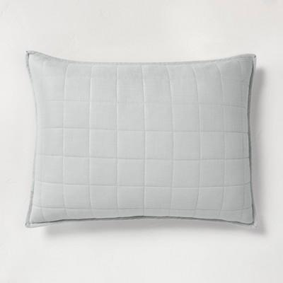 Standard Heavyweight Linen Blend Quilt Pillow Sham Light Gray - Casaluna™