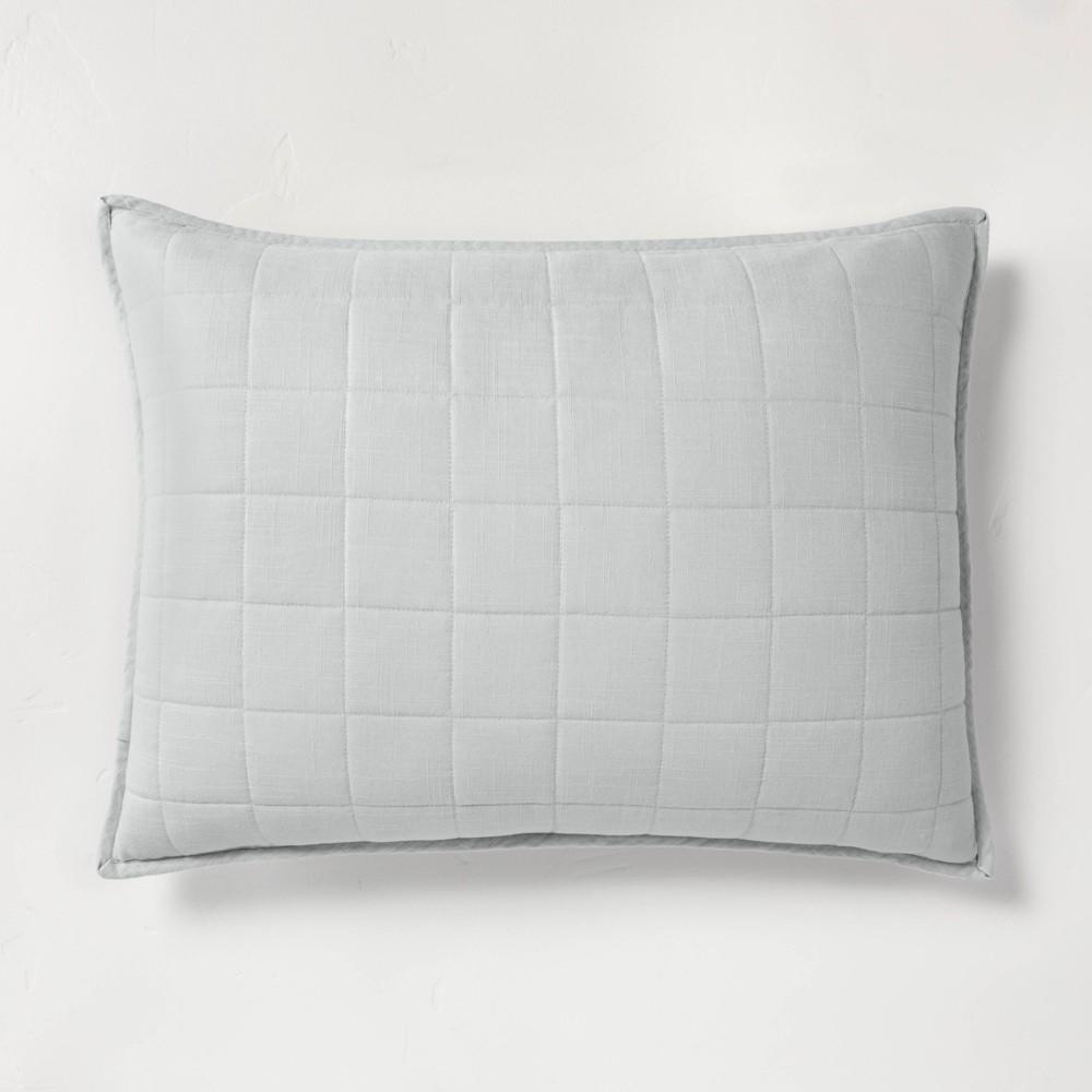 Standard Heavyweight Linen Blend Quilted Pillow Sham Light Gray - Casaluna