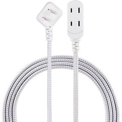 Philips 8' 3 Outlet Indoor Polarized Extension Cord Gray/White