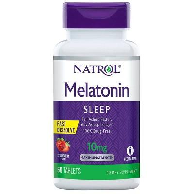 Natrol Melatonin 10mg Maximum Strength Fast Dissolve Sleep Aid Tablets - Strawberry - 60ct