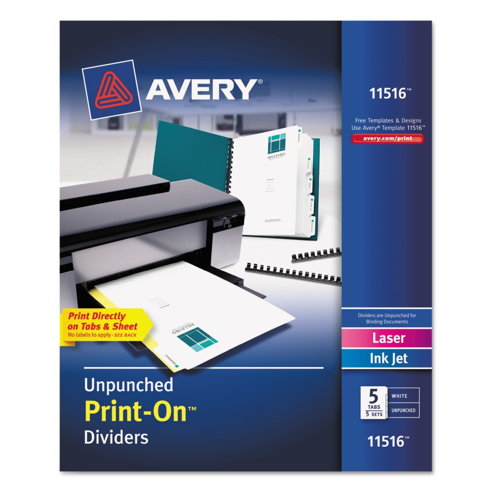 Avery 8-1/2 x 11 Print-On Dividers, 5-Tab, Unpunched- White (5 Sets per Pack)