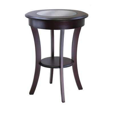 Cassie Round Accent Table with Glass - Cappuccino - Winsome